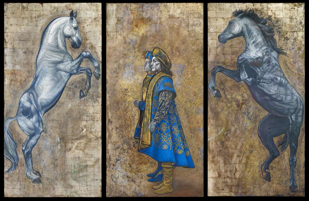 Tartuca - Triptych | Oil on Gesso Primed Panel with Gold Leaf | Emma Sergeant