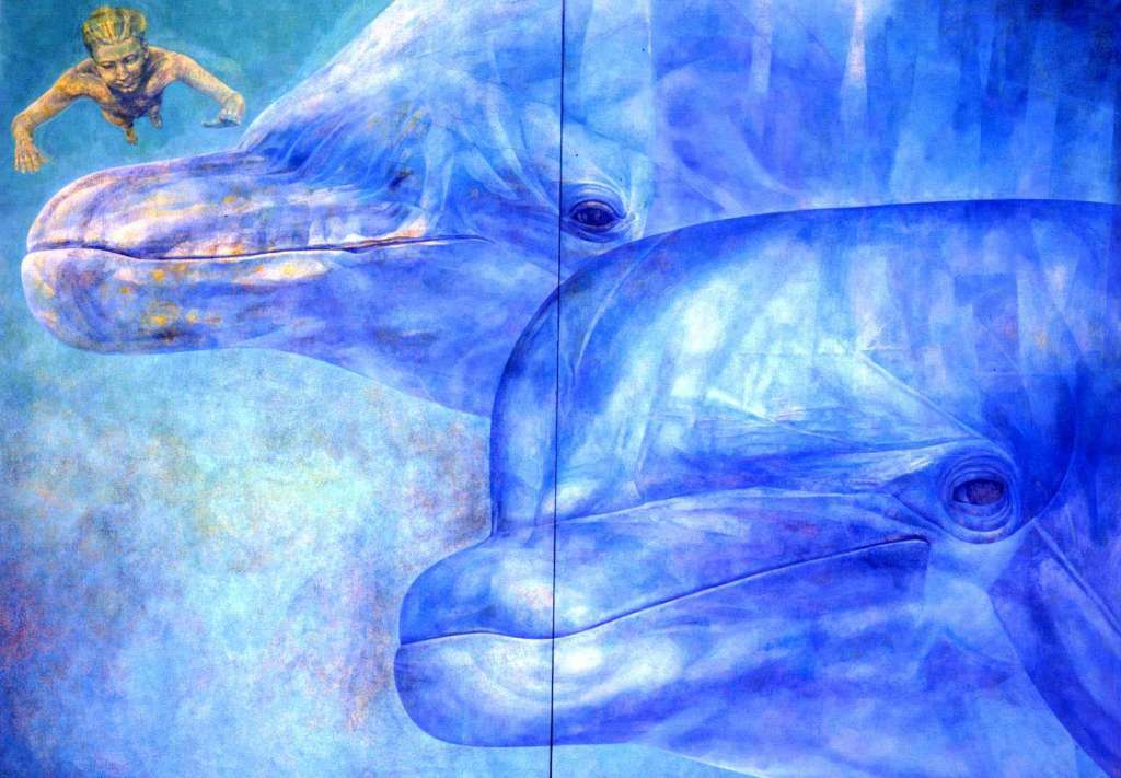 Dolphin Diptych, Enki's Approach with Swimmer | Oil on Gesso Primed Panel | Emma Sergeant